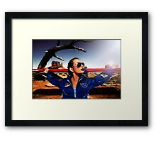 Fashion Pilot Girl Fine Art Print Framed Print