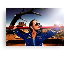 Fashion Pilot Girl Fine Art Print Canvas Print