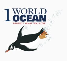 1 World Ocean - Gentoo Penguin Kids Tee