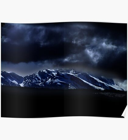 Mountains and moonlight Poster