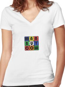 ManBuyCow Rubix Tee Women's Fitted V-Neck T-Shirt