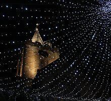 Church at night by Debby Chadwick