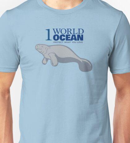1 World Ocean - Manatee Unisex T-Shirt