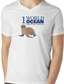 1 World Ocean - Sea Lion Mens V-Neck T-Shirt