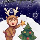 Season's Greetings With Little Dress Up Reindeer Child by Moonlake