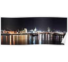 The River Thames By Night Poster
