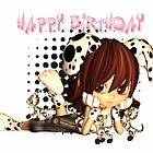 Birthday Card With Cute Little Girl And Kittens by Moonlake