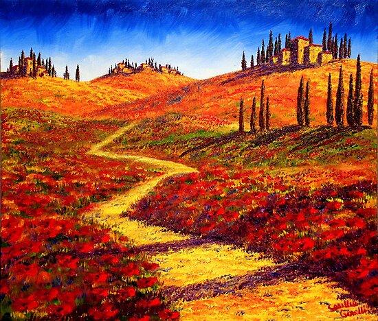 Tuscany Cypress Shadows by sesillie