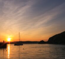 Sunset over Polkerris, South Cornwall Sticker