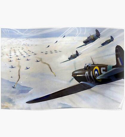 WW2 Vintage Propaganda Poster Art - Spitfire Intercept Poster