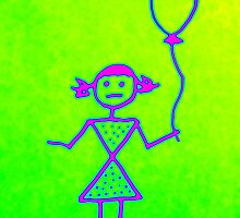 Stick Girl with Balloon by GeometryOfColor