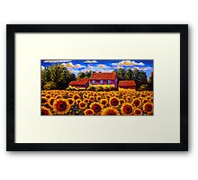 Home in the Sunflower Field Framed Print