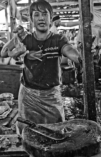 Chicken man - Lower Market, Bukittingi, Sumatra Indonesia by Naomi Brooks