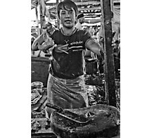 Chicken man - Lower Market, Bukittingi, Sumatra Indonesia Photographic Print