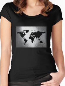 World Map Metal Women's Fitted Scoop T-Shirt