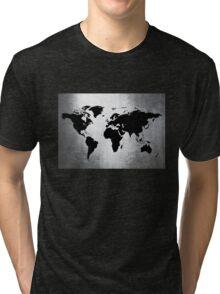 World Map Metal Tri-blend T-Shirt