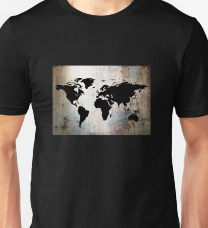 World Map Rusted Metal  Unisex T-Shirt
