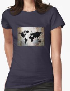 World Map Rusted Metal  Womens Fitted T-Shirt