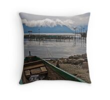 Green boat - Lake Maninjau, Sumatra, Indonesia Throw Pillow