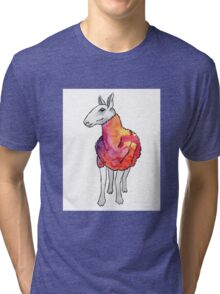 Psychedelic sheep: Blue Faced Leicester, red/violet Tri-blend T-Shirt