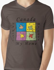 "Canadian ""Canada My Home My Heart..."" Mens V-Neck T-Shirt"
