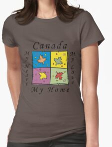 "Canadian ""Canada My Home My Heart..."" Womens Fitted T-Shirt"