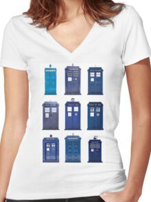 TARDIS Typology Women's Fitted V-Neck T-Shirt