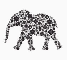 Flower Elephant:Black  by Bianca Stanton