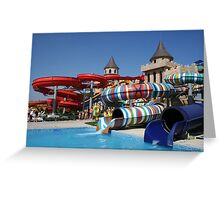 Water slide in Sunny Beach Aqua park, Bulgaria Greeting Card