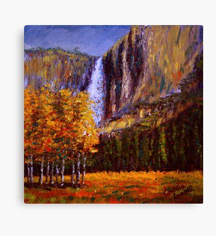 Aspens and Yosemite Falls Canvas Print