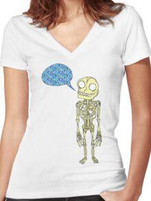 Skeleton Speaks in Fabrications Women's Fitted V-Neck T-Shirt