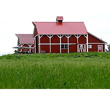 Red barn in Summer Grass Photographic Print