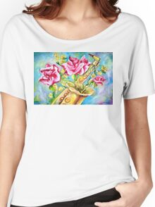 BLOOMING SAX Women's Relaxed Fit T-Shirt