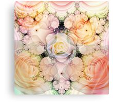 Decorative swirls and Romantic Roses Canvas Print