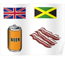 """English """"Beer-Can"""" = Jamaican """"Bacon"""" Poster"""