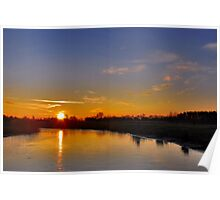 A wintry sunset in Renesse Poster