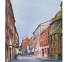Lviv's street in evening Photographic Print