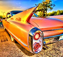 Florida sunset reflections on pink Caddy by Brainsway