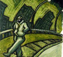Green Walking man no.1 by jimb88
