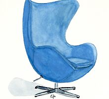 The Egg Chair - Watercolor Painting by Eugenia Alvarez