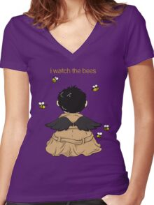 I Watch The Bees Women's Fitted V-Neck T-Shirt