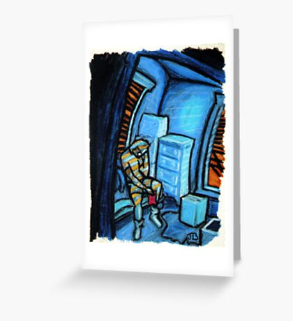 Boxes (Blue and Orange) Greeting Card