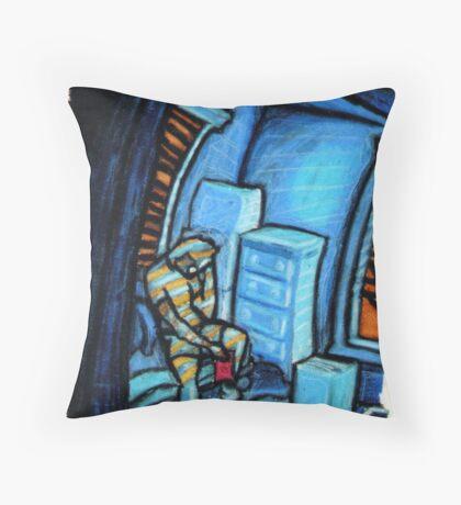 Boxes (Blue and Orange) Throw Pillow