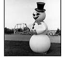 Snow Man, Santa's Village Greeting Card Format by Molly Russell
