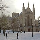 Enjoying Winchester Cathedral's Outer Close in the snow, southern England. by Philip Mitchell