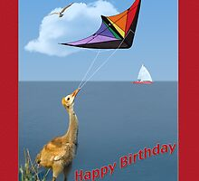 Three-week-old Sandhill Crane Flying a Kite by Delores Knowles