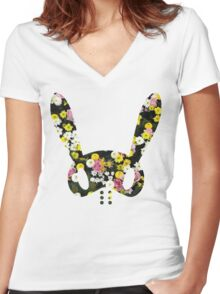 Floral BAP Bunny Women's Fitted V-Neck T-Shirt