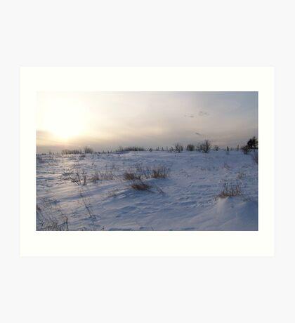 A Winter Snow Scene in Maine Art Print