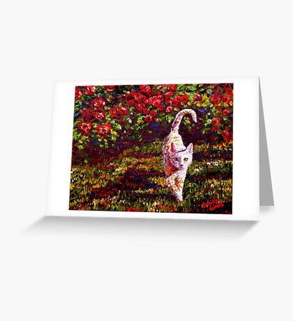 Curry Kitty in the Roses Greeting Card