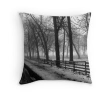 Fog in the Countryside Throw Pillow